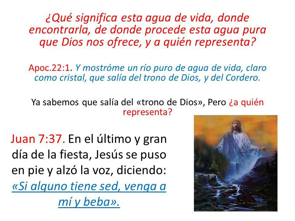 ¿Qué significa esta agua de vida, donde encontrarla, de donde procede esta agua pura que Dios nos ofrece, y a quién representa? Apoc.22:1. Y mostróme