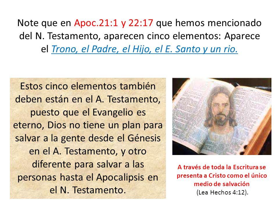 Note que en Apoc.21:1 y 22:17 que hemos mencionado del N. Testamento, aparecen cinco elementos: Aparece el Trono, el Padre, el Hijo, el E. Santo y un