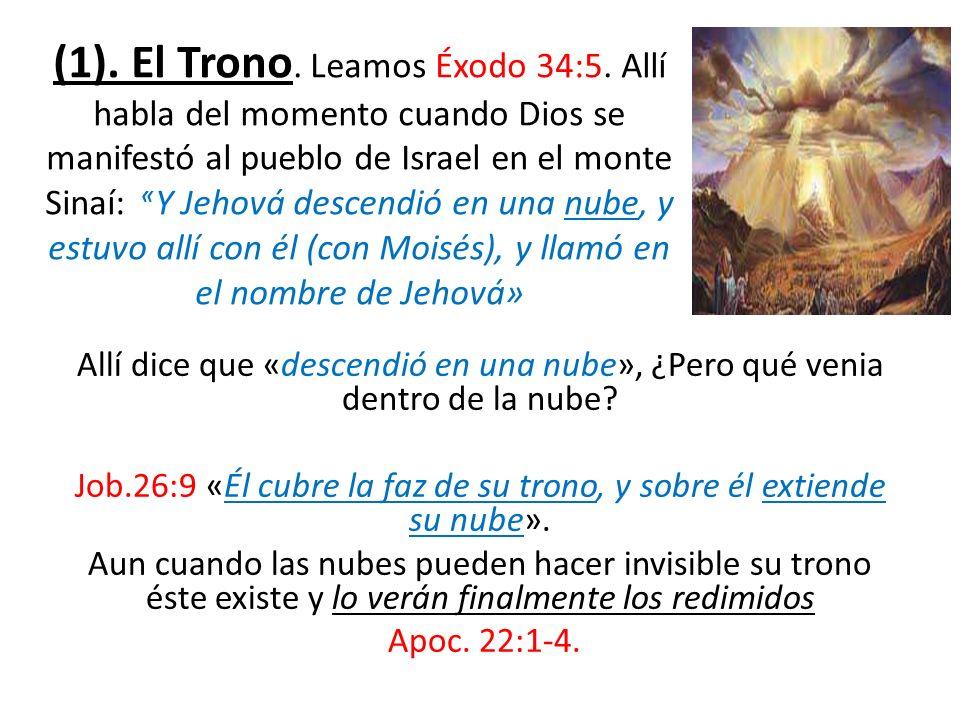 Allí dice que «descendió en una nube», ¿Pero qué venia dentro de la nube? Job.26:9 «Él cubre la faz de su trono, y sobre él extiende su nube». Aun cua