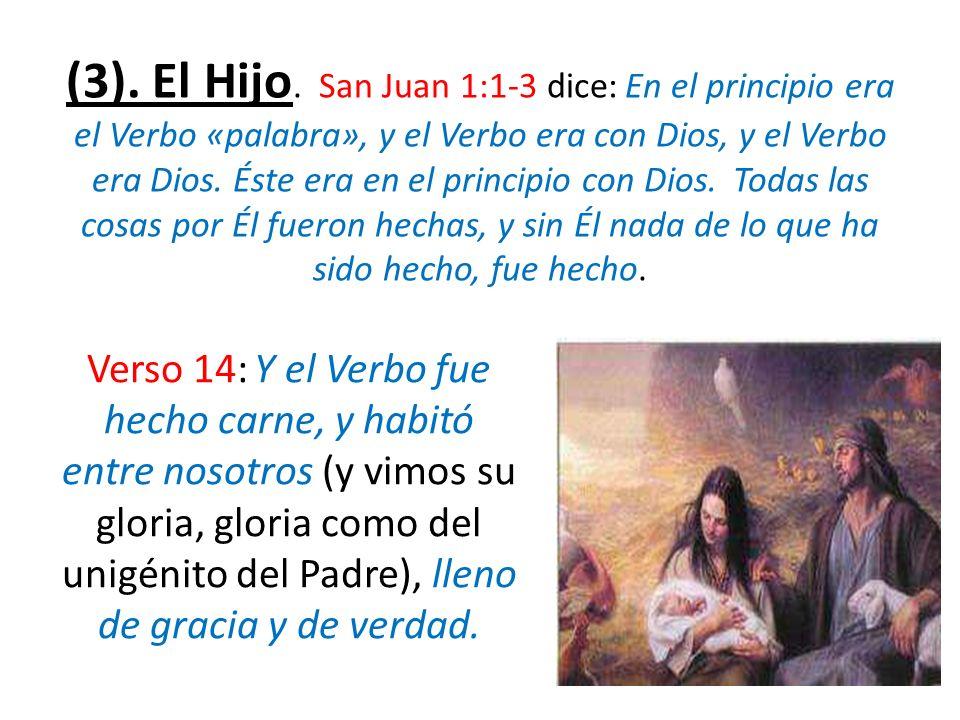 (3). El Hijo. San Juan 1:1-3 dice: En el principio era el Verbo «palabra», y el Verbo era con Dios, y el Verbo era Dios. Éste era en el principio con