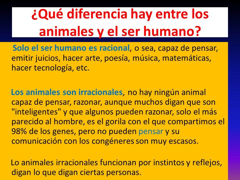 ¿Qué diferencia hay entre los animales y el ser humano.