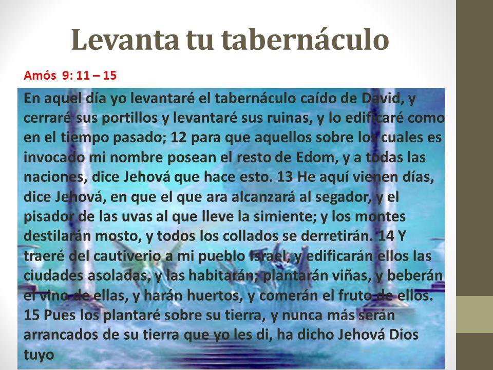 Levanta tu tabernáculo Amós 9: 11 – 15 En aquel día yo levantaré el tabernáculo caído de David, y cerraré sus portillos y levantaré sus ruinas, y lo e