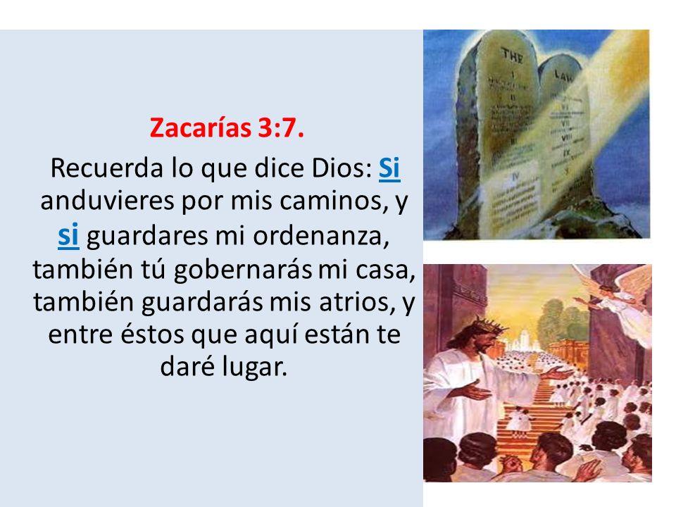 Zacarías 3:7. Recuerda lo que dice Dios: Si anduvieres por mis caminos, y si guardares mi ordenanza, también tú gobernarás mi casa, también guardarás
