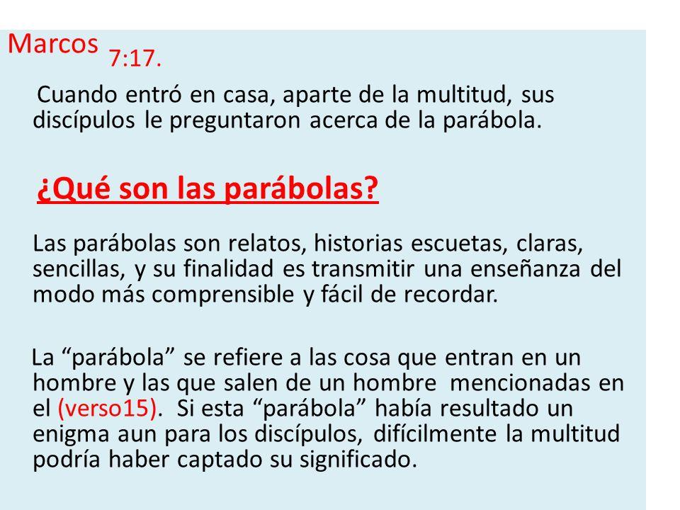 Marcos 7:17. Cuando entró en casa, aparte de la multitud, sus discípulos le preguntaron acerca de la parábola. ¿Qué son las parábolas? Las parábolas s