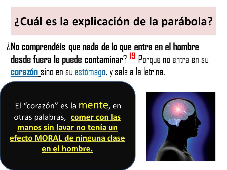 ¿Cuál es la explicación de la parábola? ¿ No comprendéis que nada de lo que entra en el hombre desde fuera le puede contaminar ? 19 Porque no entra en