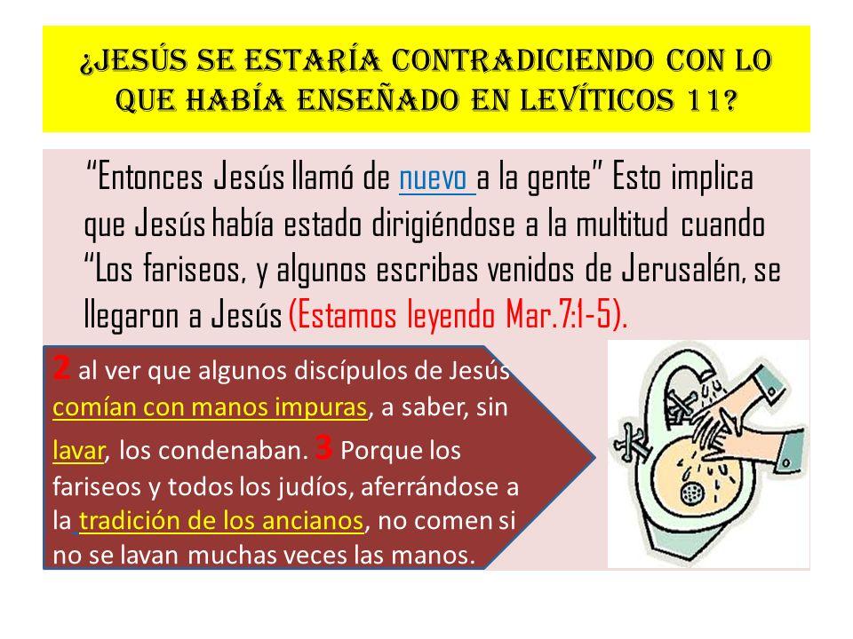 ¿Jesús se estaría contradiciendo con lo que había enseñado en Levíticos 11? Entonces Jesús llamó de nuevo a la gente Esto implica que Jesús había esta