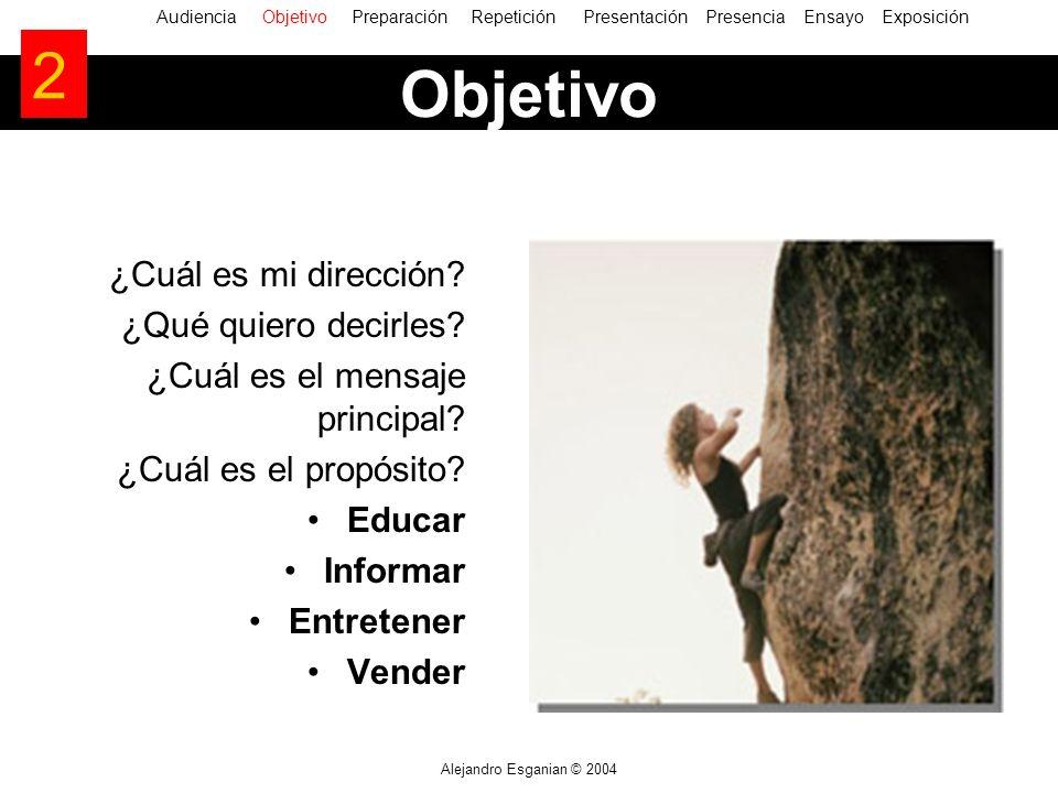 Alejandro Esganian © 2004 ¿Cuál es mi dirección? ¿Qué quiero decirles? ¿Cuál es el mensaje principal? ¿Cuál es el propósito? Educar Informar Entretene