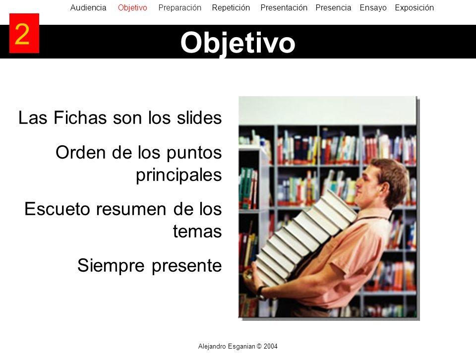 Alejandro Esganian © 2004 Las Fichas son los slides Orden de los puntos principales Escueto resumen de los temas Siempre presente AudienciaObjetivo Pr