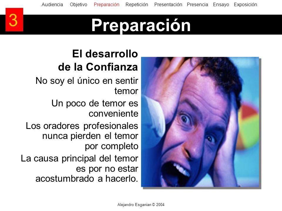 Alejandro Esganian © 2004 No soy el único en sentir temor Un poco de temor es conveniente Los oradores profesionales nunca pierden el temor por completo La causa principal del temor es por no estar acostumbrado a hacerlo.
