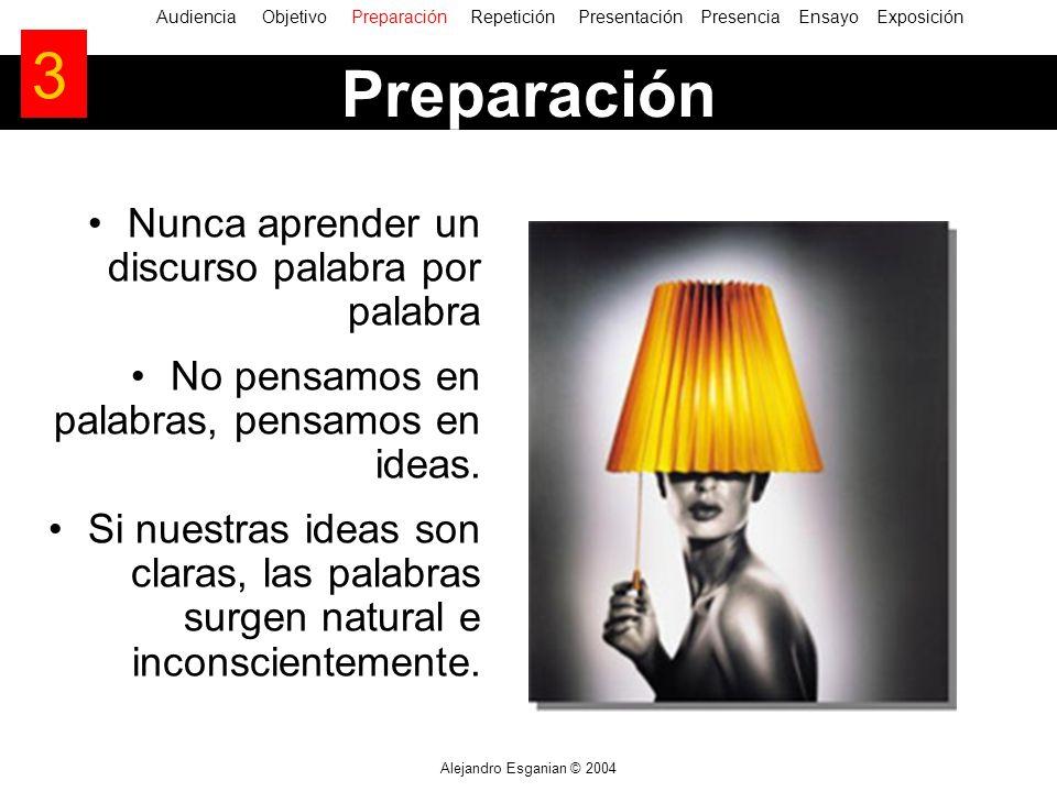 Alejandro Esganian © 2004 Nunca aprender un discurso palabra por palabra No pensamos en palabras, pensamos en ideas. Si nuestras ideas son claras, las
