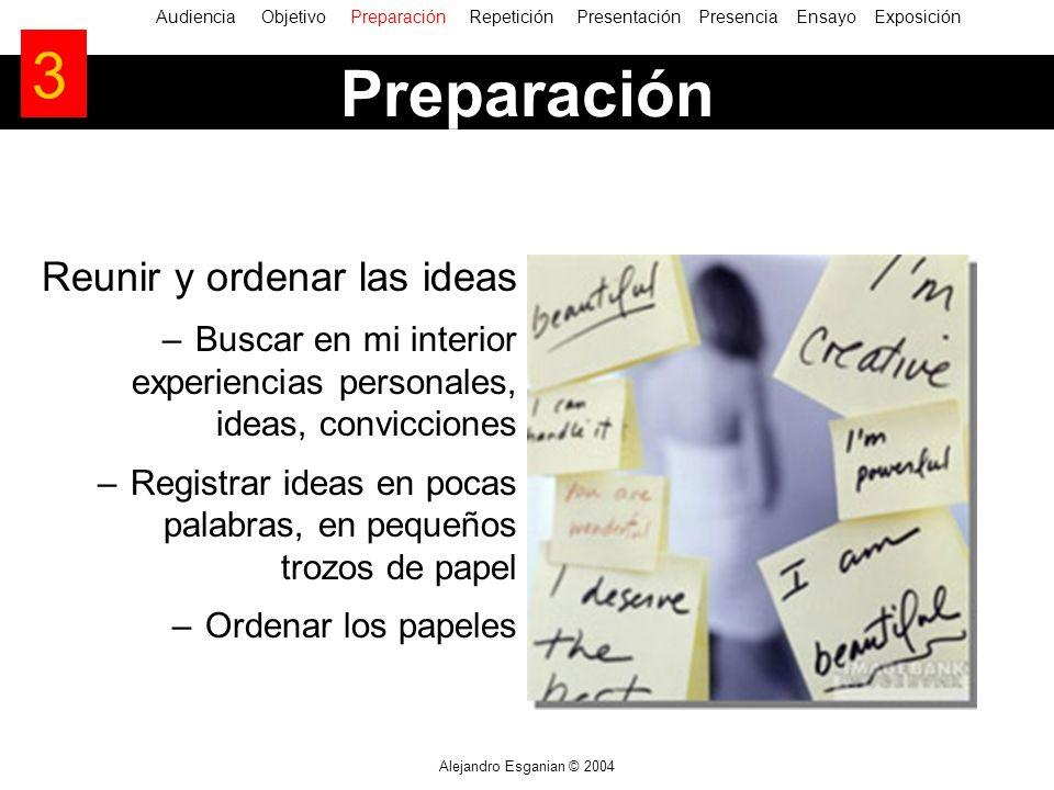 Alejandro Esganian © 2004 Reunir y ordenar las ideas –Buscar en mi interior experiencias personales, ideas, convicciones –Registrar ideas en pocas pal