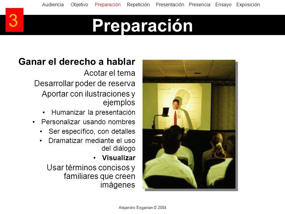 Alejandro Esganian © 2004 Ganar el derecho a hablar Acotar el tema Desarrollar poder de reserva Aportar con ilustraciones y ejemplos Humanizar la pres