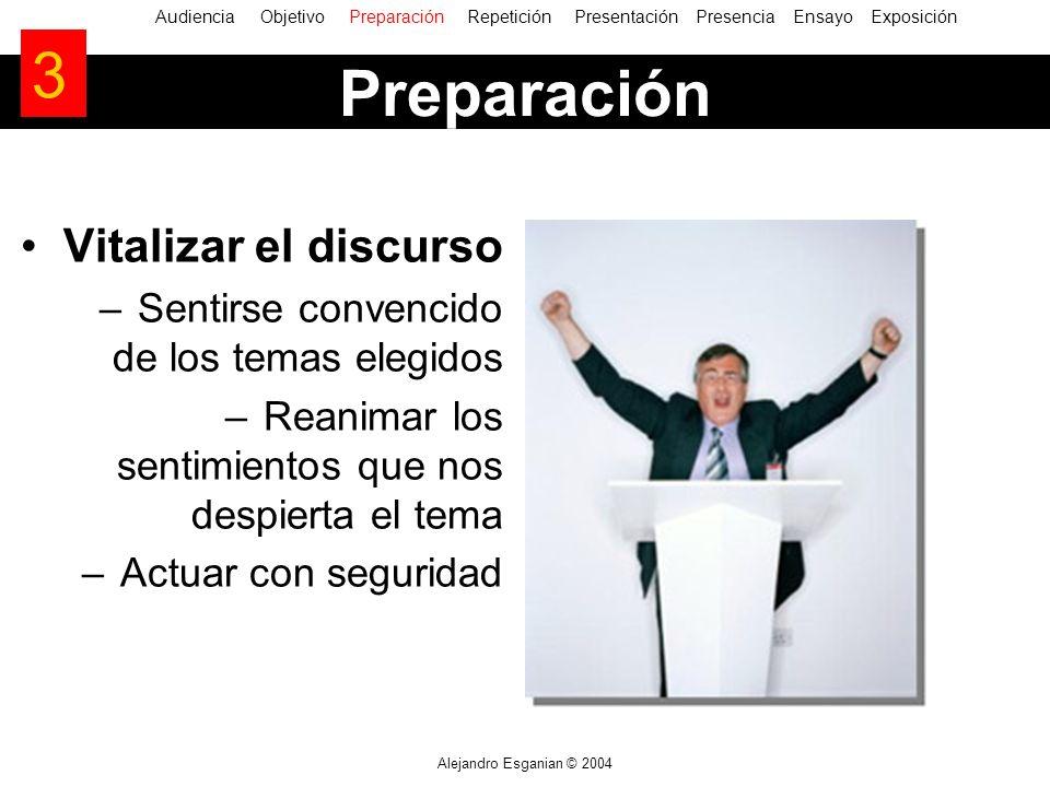 Alejandro Esganian © 2004 Vitalizar el discurso –Sentirse convencido de los temas elegidos –Reanimar los sentimientos que nos despierta el tema –Actua