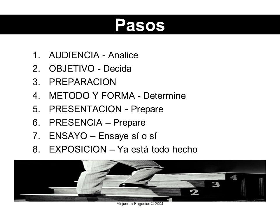 Alejandro Esganian © 2004 1.AUDIENCIA - Analice 2.OBJETIVO - Decida 3.PREPARACION 4.METODO Y FORMA - Determine 5.PRESENTACION - Prepare 6.PRESENCIA – Prepare 7.ENSAYO – Ensaye sí o sí 8.EXPOSICION – Ya está todo hecho Pasos