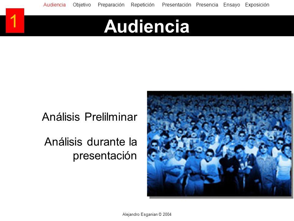 Alejandro Esganian © 2004 Audiencia Análisis Prelilminar Análisis durante la presentación AudienciaObjetivo Preparación Repetición Presentación Presencia Ensayo Exposición 1