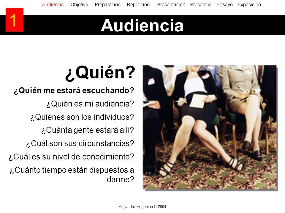 Alejandro Esganian © 2004 ¿Quién me estará escuchando? ¿Quién es mi audiencia? ¿Quiénes son los individuos? ¿Cuánta gente estará allí? ¿Cuál son sus c