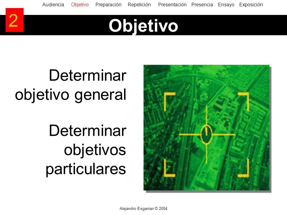 Alejandro Esganian © 2004 Determinar objetivo general Determinar objetivos particulares AudienciaObjetivo Preparación Repetición Presentación Presencia Ensayo Exposición Objetivo 2