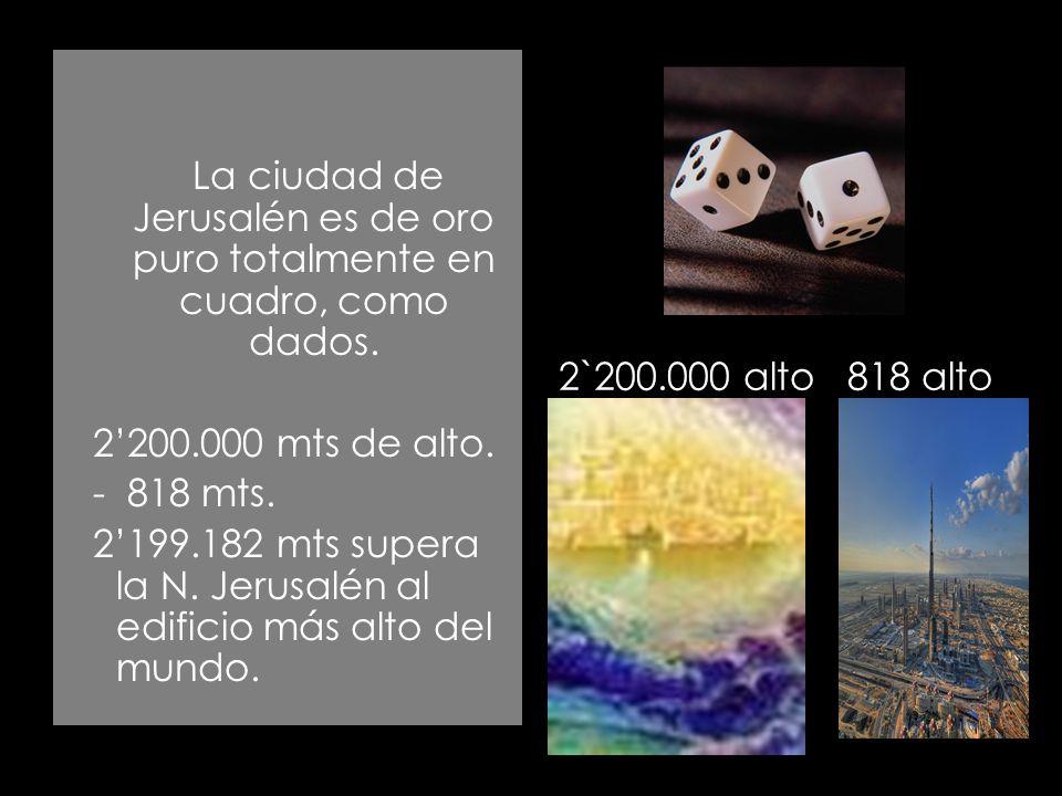 La ciudad de Jerusalén es de oro puro totalmente en cuadro, como dados. 2200.000 mts de alto. - 818 mts. 2199.182 mts supera la N. Jerusalén al edific