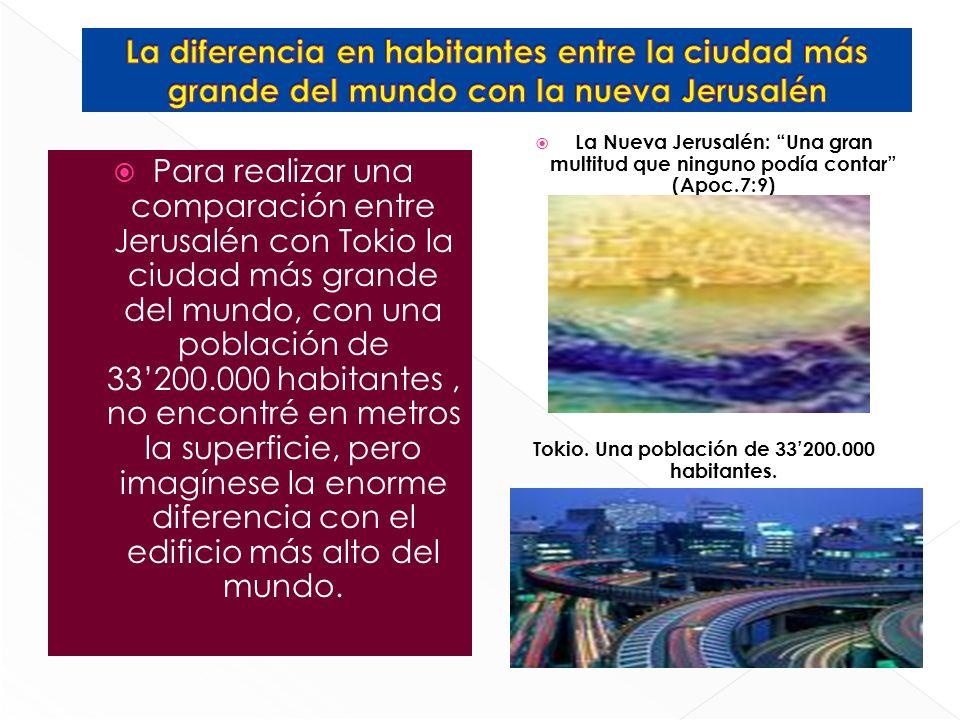 Para realizar una comparación entre Jerusalén con Tokio la ciudad más grande del mundo, con una población de 33200.000 habitantes, no encontré en metr