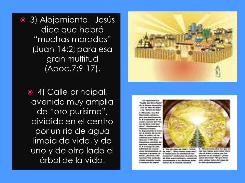 3) Alojamiento. Jesús dice que habrá muchas moradas (Juan 14:2; para esa gran multitud (Apoc.7:9-17). 4) Calle principal, avenida muy amplia de oro pu