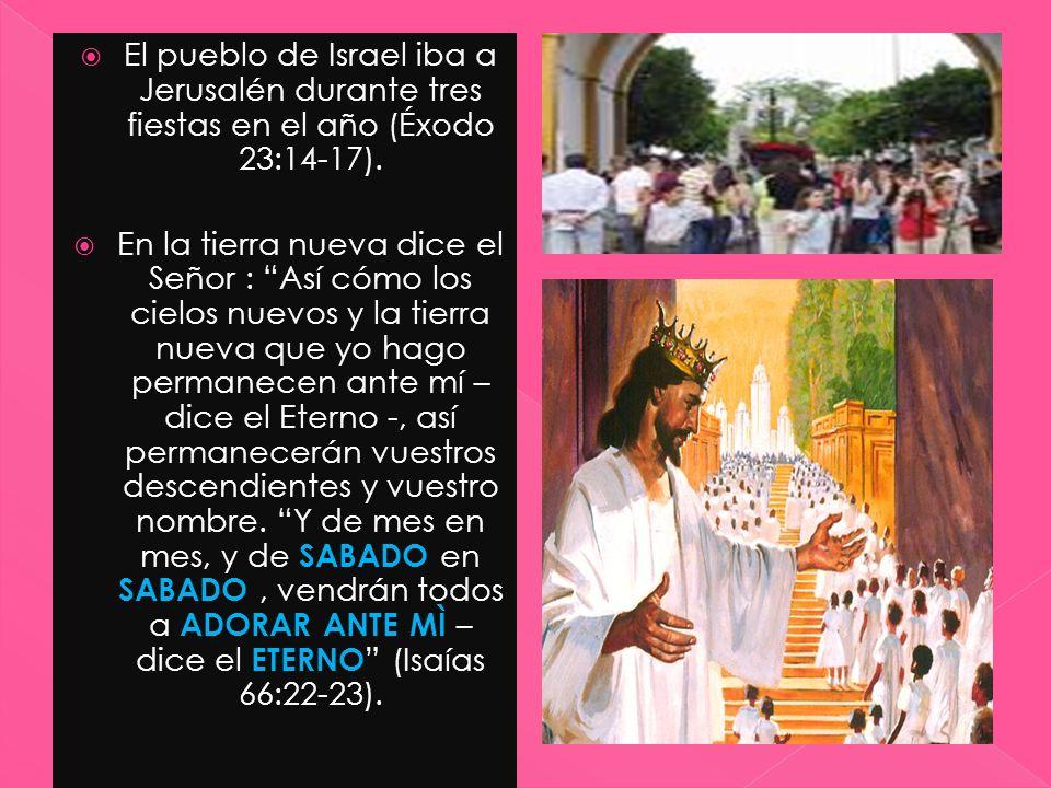 El pueblo de Israel iba a Jerusalén durante tres fiestas en el año (Éxodo 23:14-17). En la tierra nueva dice el Señor : Así cómo los cielos nuevos y l