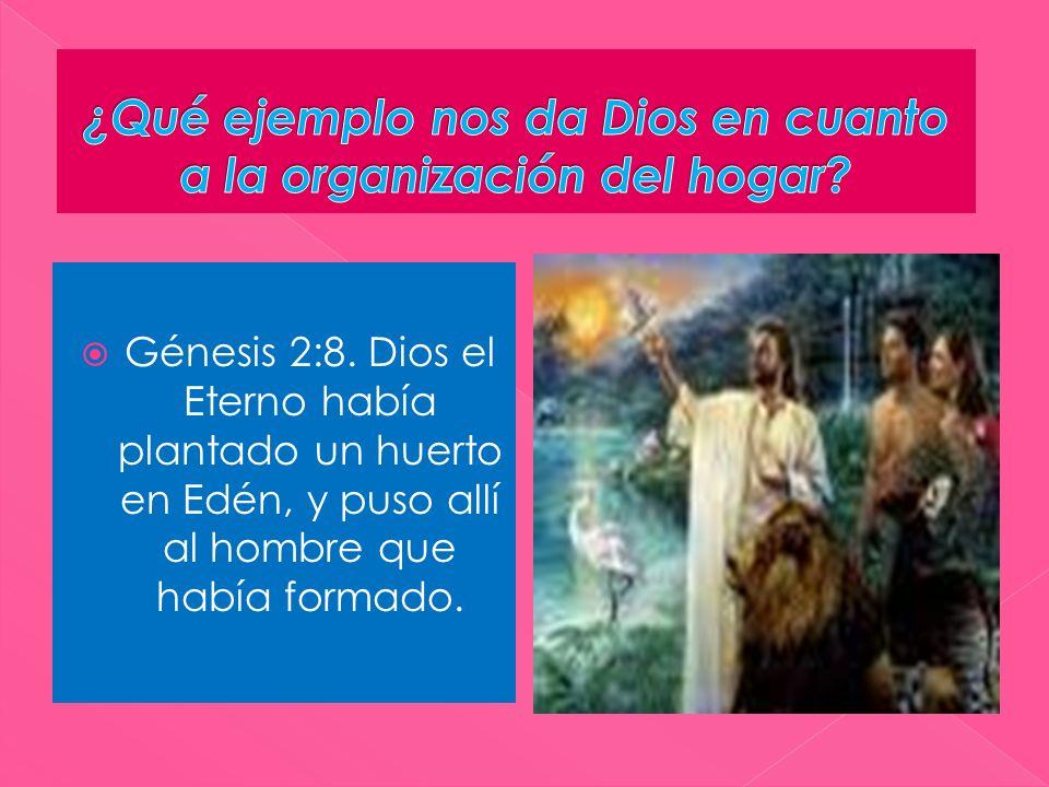 Génesis 2:8. Dios el Eterno había plantado un huerto en Edén, y puso allí al hombre que había formado.