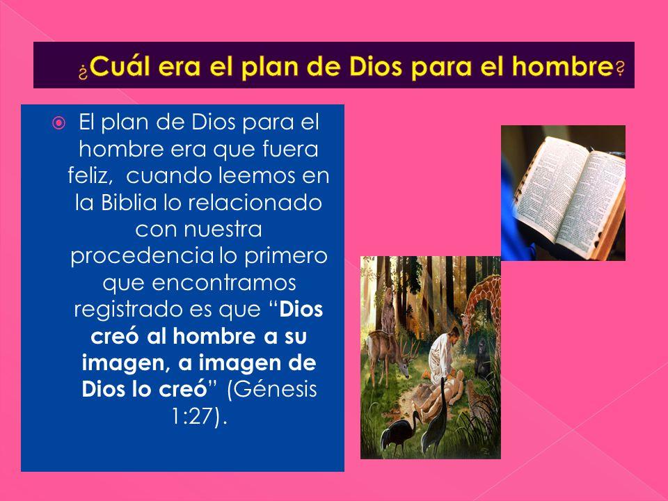 El plan de Dios para el hombre era que fuera feliz, cuando leemos en la Biblia lo relacionado con nuestra procedencia lo primero que encontramos regis