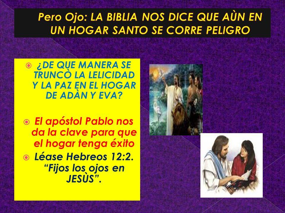 ¿DE QUE MANERA SE TRUNCÒ LA LELICIDAD Y LA PAZ EN EL HOGAR DE ADÀN Y EVA? El apóstol Pablo nos da la clave para que el hogar tenga éxito Léase Hebreos