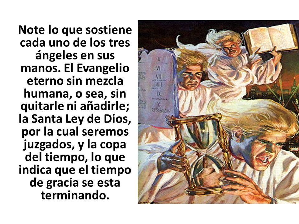 Note lo que sostiene cada uno de los tres ángeles en sus manos. El Evangelio eterno sin mezcla humana, o sea, sin quitarle ni añadirle; la Santa Ley d