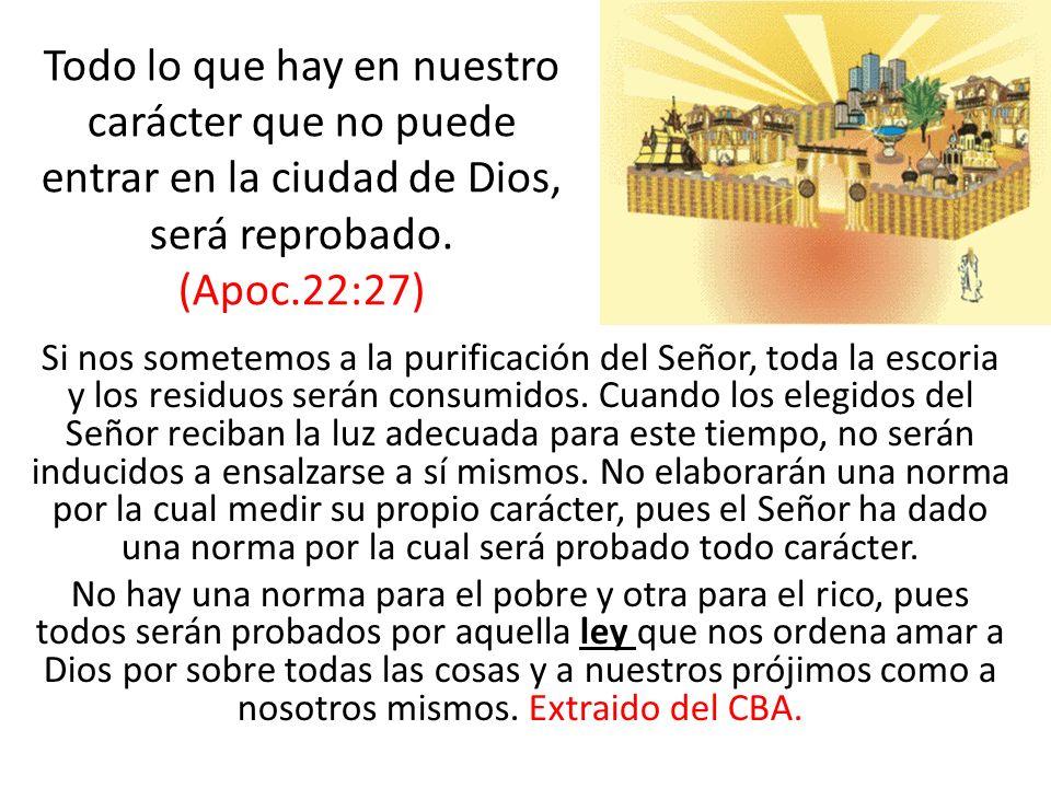 Si nos sometemos a la purificación del Señor, toda la escoria y los residuos serán consumidos. Cuando los elegidos del Señor reciban la luz adecuada p
