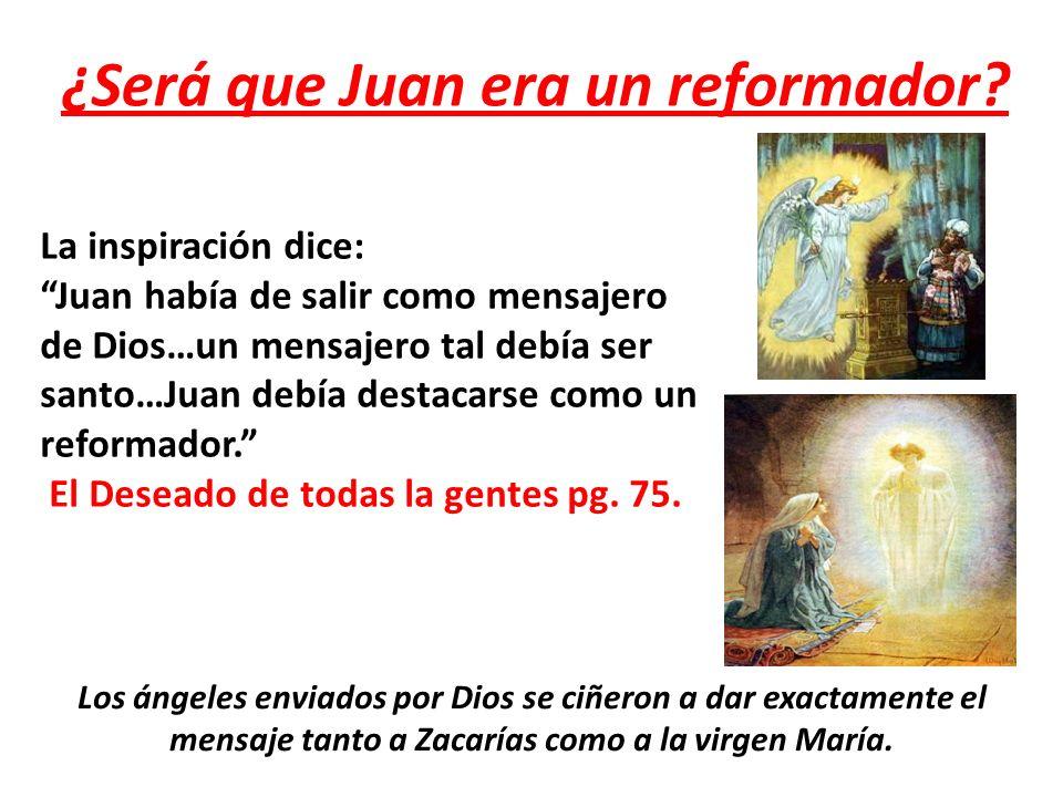 ¿Será que Juan era un reformador? La inspiración dice: Juan había de salir como mensajero de Dios…un mensajero tal debía ser santo…Juan debía destacar