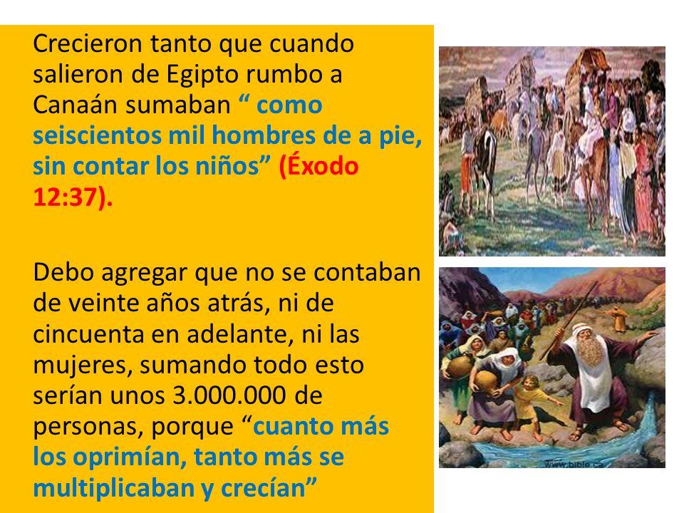 Crecieron tanto que cuando salieron de Egipto rumbo a Canaán sumaban como seiscientos mil hombres de a pie, sin contar los niños (Éxodo 12:37). Debo a