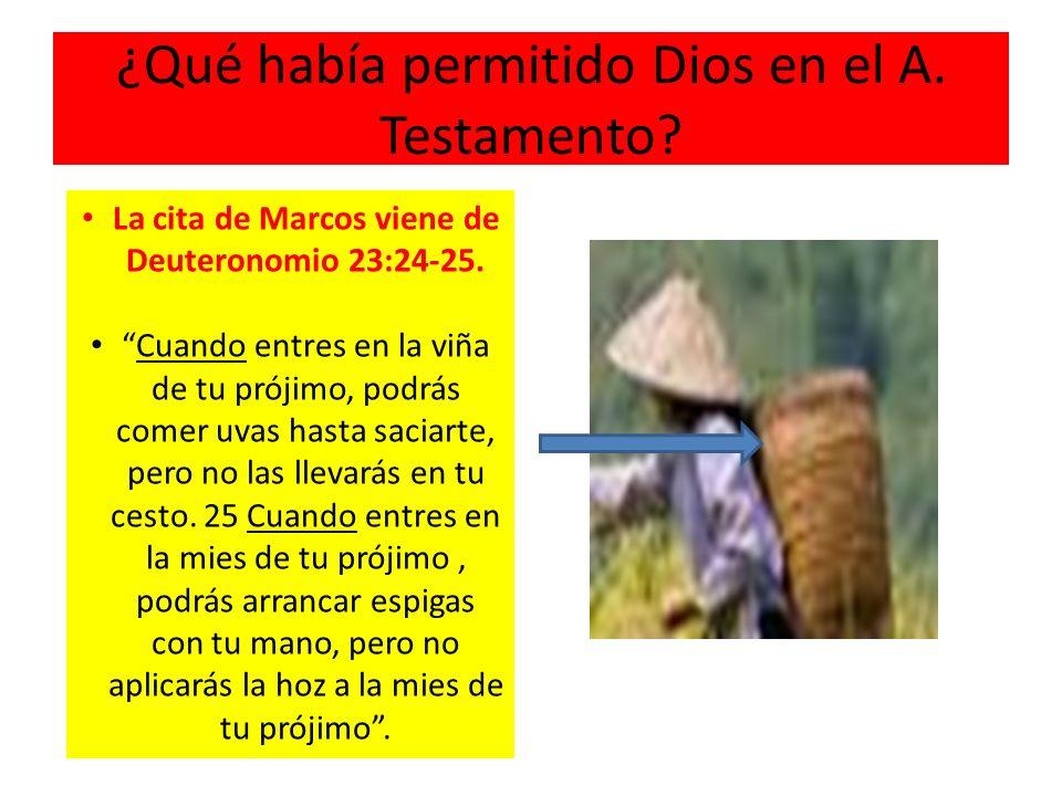 ¿Qué había permitido Dios en el A. Testamento? La cita de Marcos viene de Deuteronomio 23:24-25. Cuando entres en la viña de tu prójimo, podrás comer