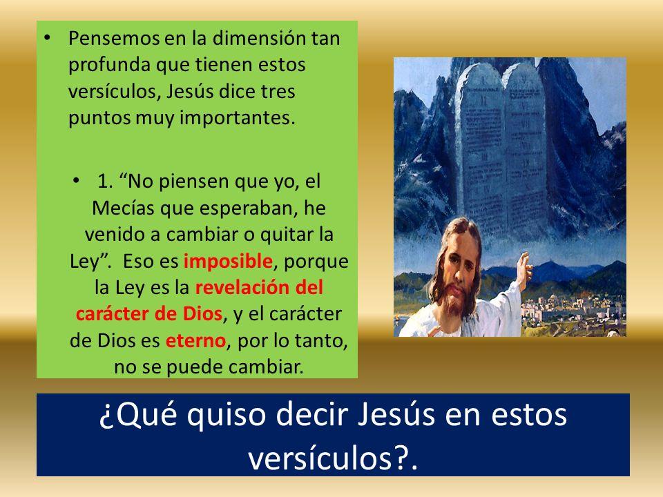 ¿Qué quiso decir Jesús en estos versículos?. Pensemos en la dimensión tan profunda que tienen estos versículos, Jesús dice tres puntos muy importantes