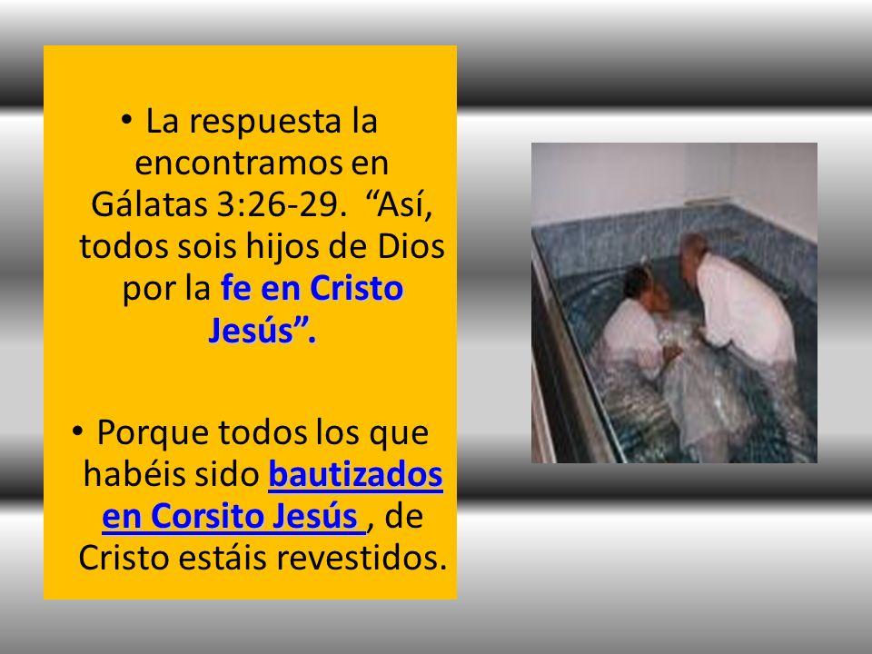 fe en Cristo Jesús. La respuesta la encontramos en Gálatas 3:26-29. Así, todos sois hijos de Dios por la fe en Cristo Jesús. bautizados en Corsito Jes