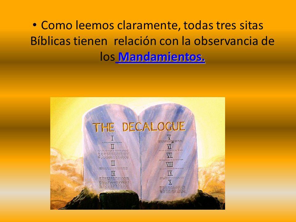 Mandamientos. Como leemos claramente, todas tres sitas Bíblicas tienen relación con la observancia de los Mandamientos.