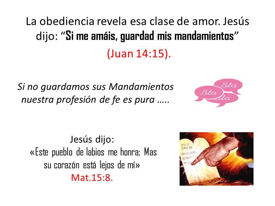 La obediencia revela esa clase de amor. Jesús dijo: Si me amáis, guardad mis mandamientos (Juan 14:15). Si no guardamos sus Mandamientos nuestra profe