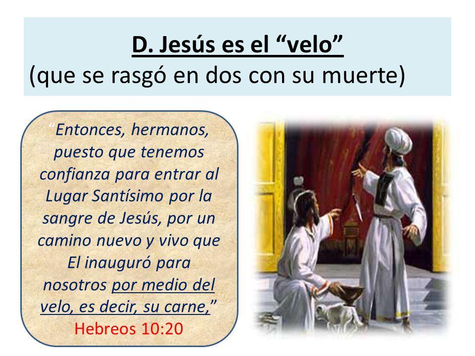 D. Jesús es el velo (que se rasgó en dos con su muerte) Entonces, hermanos, puesto que tenemos confianza para entrar al Lugar Santísimo por la sangre