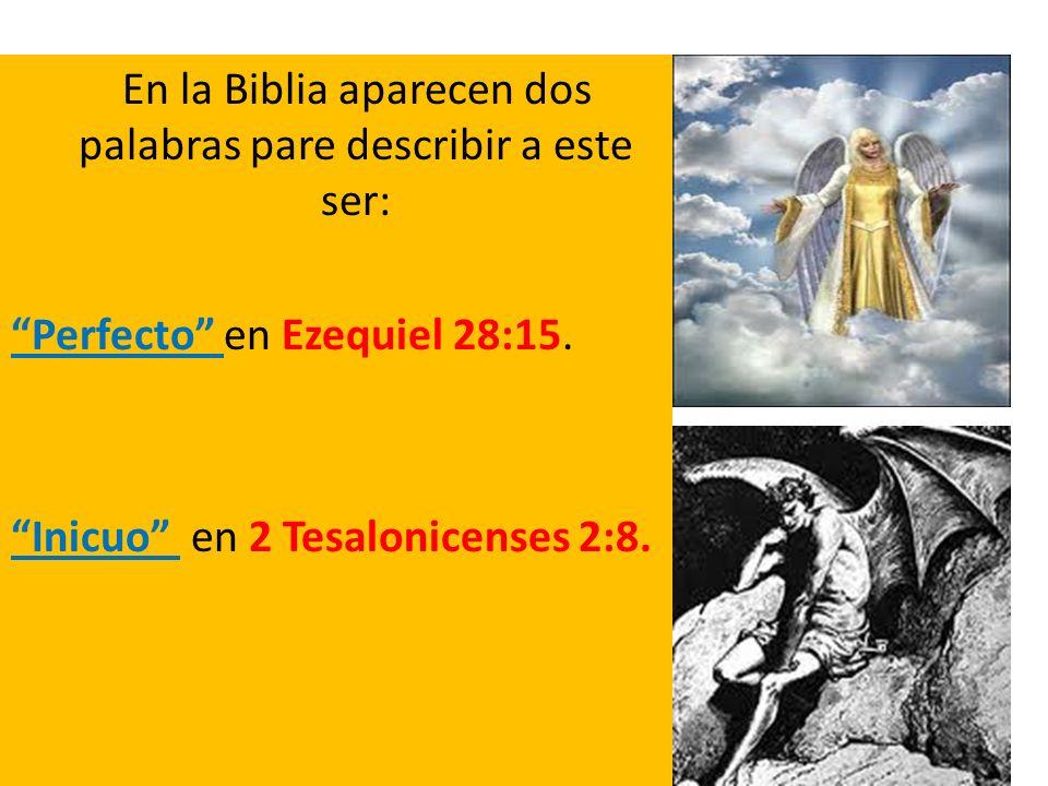 En la Biblia aparecen dos palabras pare describir a este ser: Perfecto en Ezequiel 28:15. Inicuo en 2 Tesalonicenses 2:8.