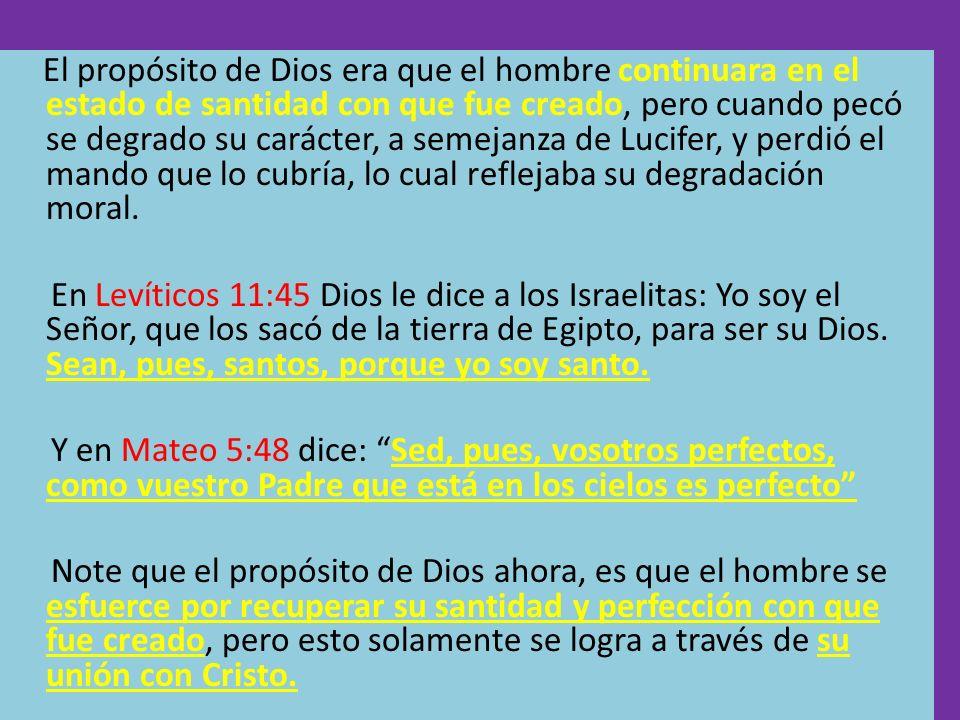 El propósito de Dios era que el hombre continuara en el estado de santidad con que fue creado, pero cuando pecó se degrado su carácter, a semejanza de