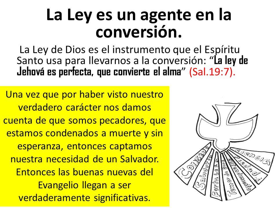 La Ley es un agente en la conversión. La Ley de Dios es el instrumento que el Espíritu Santo usa para llevarnos a la conversión: La ley de Jehová es p