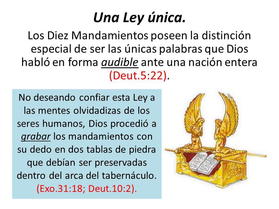 Una Ley única. Los Diez Mandamientos poseen la distinción especial de ser las únicas palabras que Dios habló en forma audible ante una nación entera (