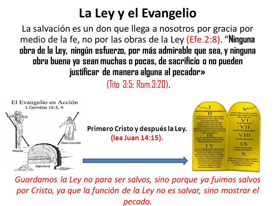 La Ley y el Evangelio La salvación es un don que llega a nosotros por gracia por medio de la fe, no por las obras de la Ley (Efe.2:8). Ninguna obra de