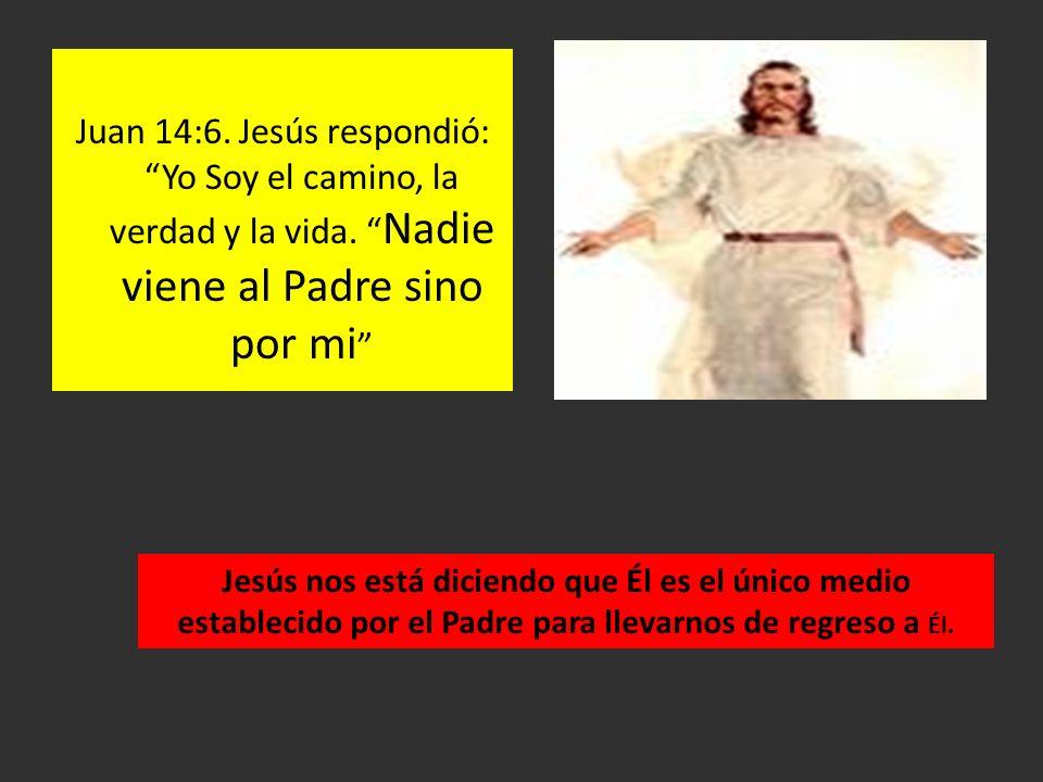Juan 14:6. Jesús respondió: Yo Soy el camino, la verdad y la vida. Nadie viene al Padre sino por mi Jesús nos está diciendo que Él es el único medio e