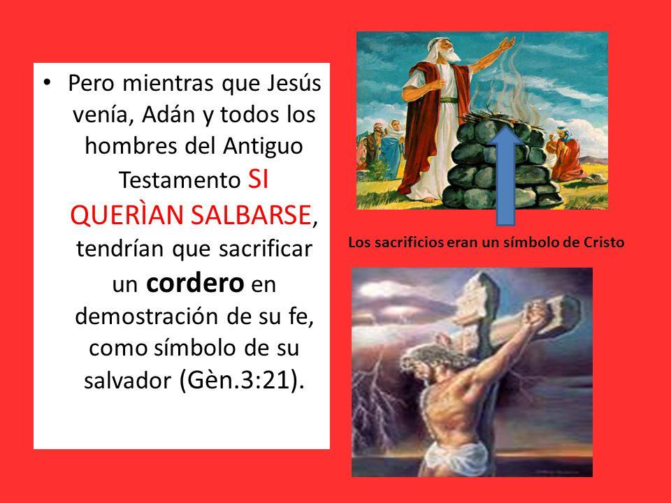 Pero mientras que Jesús venía, Adán y todos los hombres del Antiguo Testamento SI QUERÌAN SALBARSE, tendrían que sacrificar un cordero en demostración