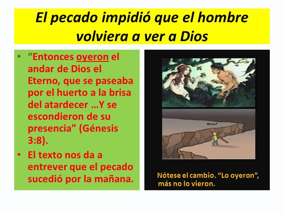 El pecado impidió que el hombre volviera a ver a Dios Entonces oyeron el andar de Dios el Eterno, que se paseaba por el huerto a la brisa del atardece