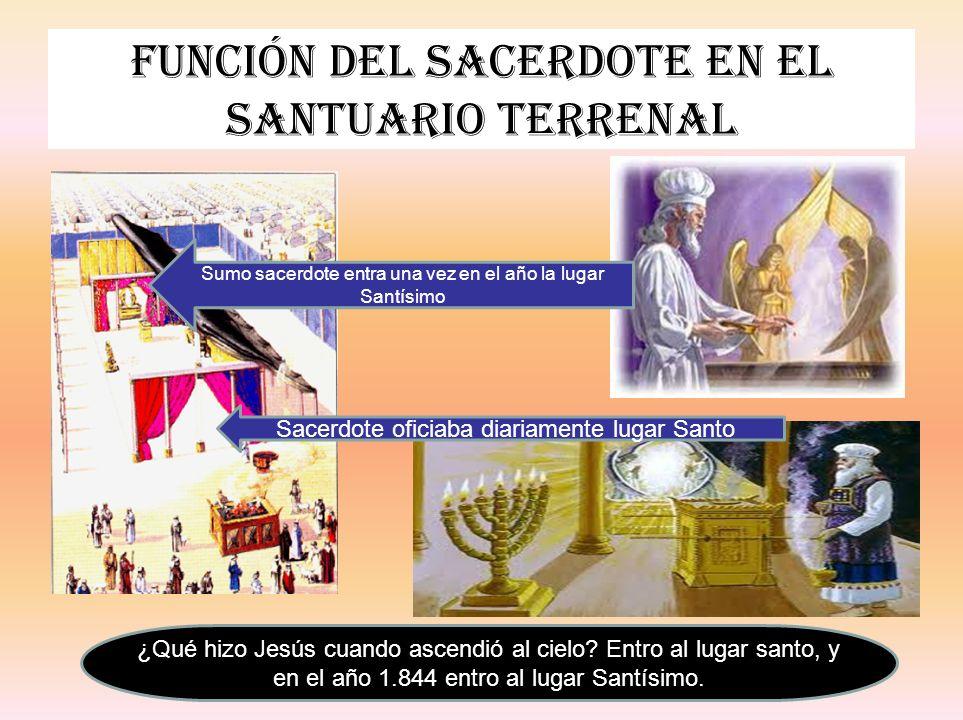 Función del sacerdote en el santuario terrenal Sacerdote oficiaba diariamente lugar Santo Sumo sacerdote entra una vez en el año la lugar Santísimo ¿Q
