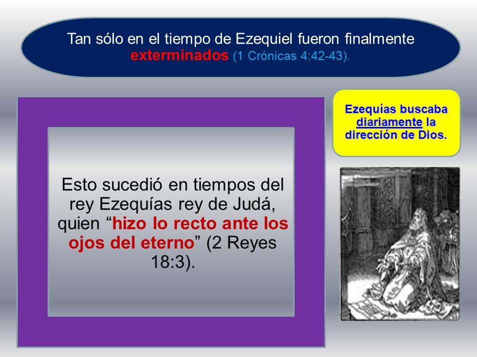 Tan sólo en el tiempo de Ezequiel fueron finalmente exterminados (1 Crónicas 4:42-43). Esto sucedió en tiempos del rey Ezequías rey de Judá, quien hiz