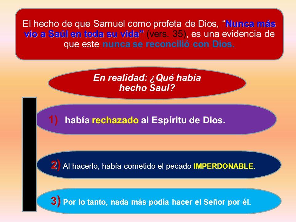 Nunca más vio a Saúl en toda su vida El hecho de que Samuel como profeta de Dios, Nunca más vio a Saúl en toda su vida (vers. 35), es una evidencia de