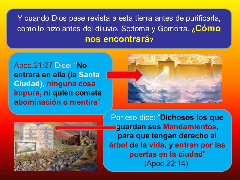 Y cuando Dios pase revista a esta tierra antes de purificarla, como lo hizo antes del diluvio, Sodoma y Gomorra. ¿ Cómo nos encontrará ? Apoc.21:27 Di